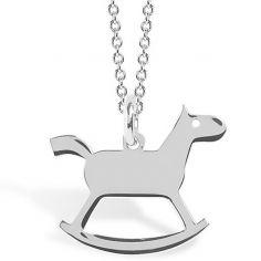 Collier chaîne 40 cm pendentif Mini Coquine cheval 13 mm (argent 925°)