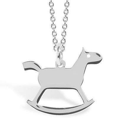 Collier chaîne 40 cm pendentif Mini Coquine cheval 13 mm (argent 925°)  par Coquine