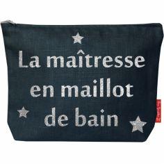 Pochette Maîtresse bleu pétrole (personnalisable)