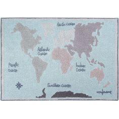 Tapis lavable carte du monde (140 x 200 cm)