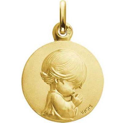 Médaille Ange agenouillé Les Loupiots 14 mm (or jaune 750°)  par A.Augis