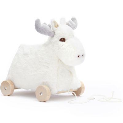 Jouet à tirer en bois Eda Renne blanc Edvin  par Kid's Concept