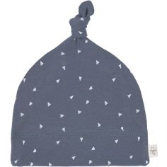 Bonnet en coton bio Cozy Colors triangle bleu (7-12 mois)