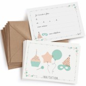 Lot de 8 cartes d'invitation anniversaire - Zü