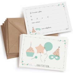 Lot de 8 cartes d'invitation anniversaire