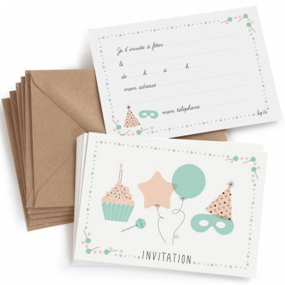 lot de 8 cartes d 39 invitation anniversaire z. Black Bedroom Furniture Sets. Home Design Ideas