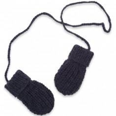 Moufles Emilie tricotées main bleu foncé (12-24 mois : 74 à 86 cm)
