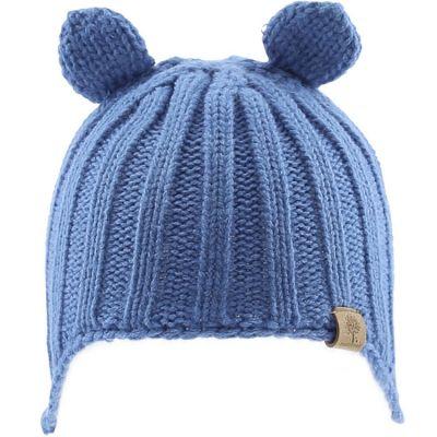 Bonnet en tricot avec oreilles bleu (0-6 mois)  par Bedford Road