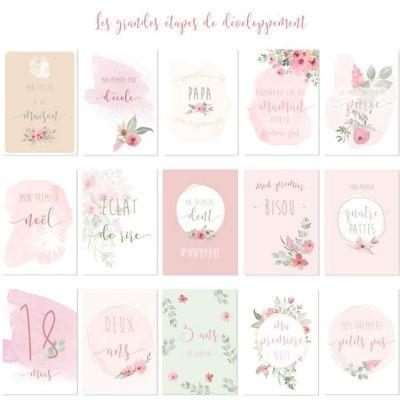 Cartes photos souvenirs rose Mon premier (15 cartes)  par Spiritus Naturae