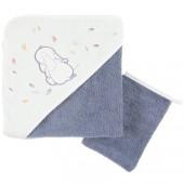 Cape de bain et gant de toilette Bao et Wapi (75 x 75 cm) - Noukie's