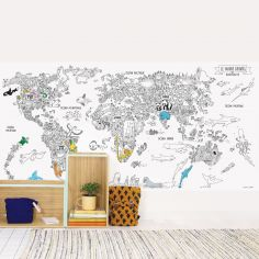 Stickers muraux à colorier Animaux du monde (115 x 240 cm)