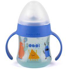 Biberon à anses et bec en silicone anti-fuites Booo bleu (150 ml)