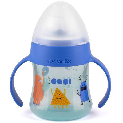 Biberon à anses et bec en silicone anti-fuites Booo bleu (150 ml)  par Suavinex