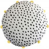 Coussin de sol rond dot à pompons jaunes (70 x 70 cm) - Art for Kids