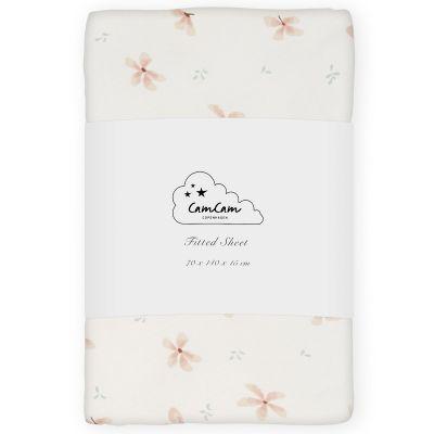 Drap housse en coton bio Windflower Creme (70 x 140 cm)  par Cam Cam Copenhagen