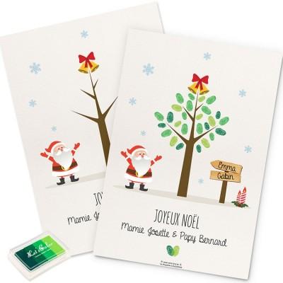 Affiche Mini arbre à empreintes Noël personnalisable (A4)  par La Poupette à paillettes