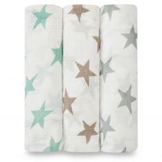 Lot de 3 maxi langes Swaddle bambou Milky way étoiles pastel