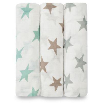 Lot de 3 maxi langes Swaddle bambou Milky way étoiles pastel  par aden + anais