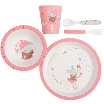 Coffret repas rose Les jolis trop beaux (5 pièces)  par Moulin Roty