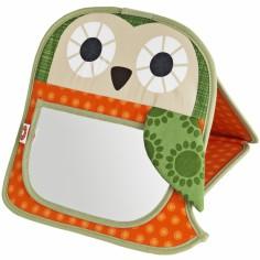 Miroir d'éveil en coton bio Grete la chouette orange