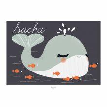 Carte A5 Les Animignons la baleine (personnalisable)  par Kanzilue