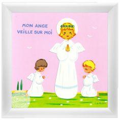 Tableau Ange Gardien fille rose (15 x 15 cm)