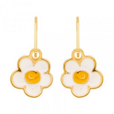 Boucles d'oreilles créoles marguerites émail blanc (or jaune)  par Berceau magique bijoux