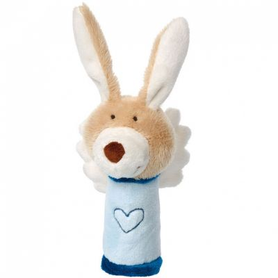 Hochet peluche lapin ange gardien bleu (13 cm) Sigikid