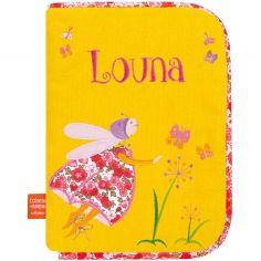 Protège carnet de santé Luciole aux papillons (personnalisable)