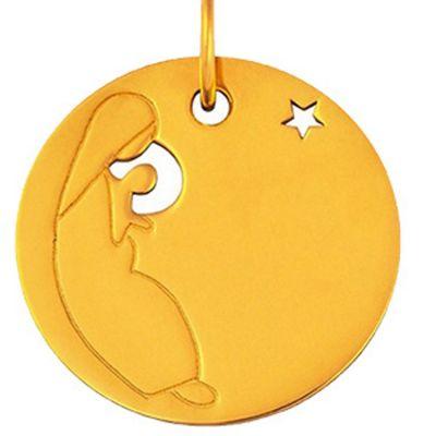 Mini bijou Vierge à l'étoile sur cordon (or jaune 18 carats)  par Maison La Couronne