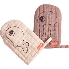 Lot de 2 gants de toilette Sea Friends rose