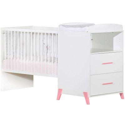 Lit bébé combiné évolutif Joy rose (60 x 120 cm)  par Baby Price