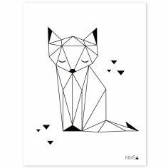Affiche renard Origami play by Claudia Soria (30 x 40 cm)