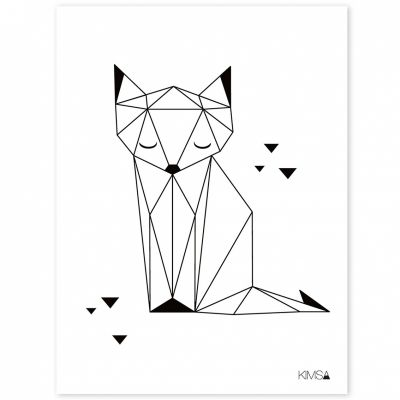 Affiche renard Origami play by Claudia Soria (30 x 40 cm)  par Lilipinso