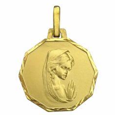 Médaille ronde Vierge priante 14 mm bord diamanté (or jaune 750°)
