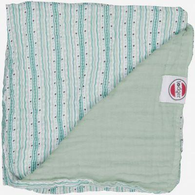 Couverture bébé en coton Dreamer Xandu rayure vert d'eau (120 x 120 cm)  par Lodger