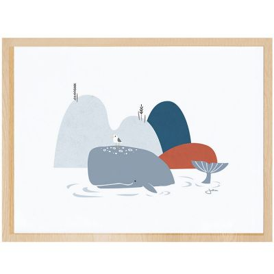 Affiche encadrée la baleine (30 x 40 cm)  par Lilipinso
