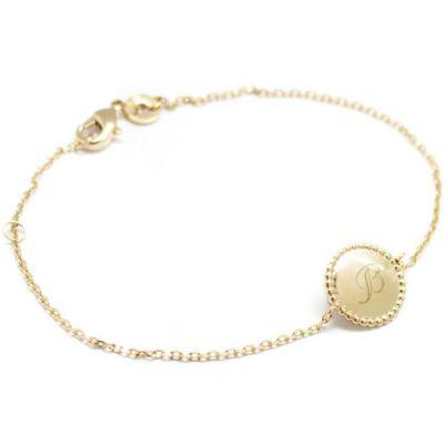 Bracelet Jeton perlé personnalisable (plaqué or)  par Petits trésors