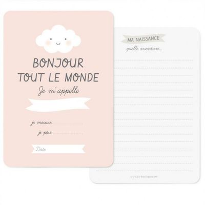Carte naissance Bonjour rose (A6)