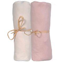 Lot de 2 draps housses en coton bio écru et corail (60 x 120 cm)
