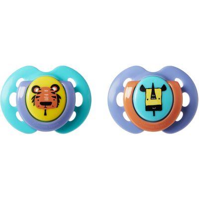 Lot de 2 sucettes Fun Style Animaux de la savane bleu (0-6 mois) Tommee Tippee