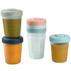 Lot de 6 pots de conservation bleu, rose et vert (250 ml)