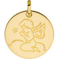 Médaille ronde Ange en prière (or jaune 375°)