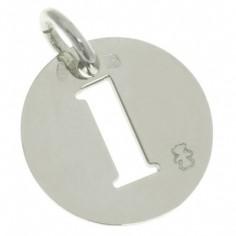 Pendentif Lucky number rond 20 mm sur cordon (argent 925°)