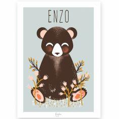 Affiche A3 Les Animignons l'ours bleue (personnalisable)