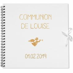 Album photo communion personnalisable blanc et or (30 x 30 cm)