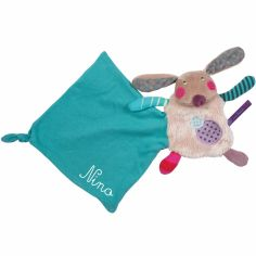Doudou mouchoir lapin Jolis pas beaux personnalisable (16 cm)