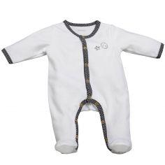 Pyjama chaud Babyfan blanc et gris (Naissance)