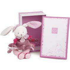 Coffret peluche hochet Cerise le lapin rose