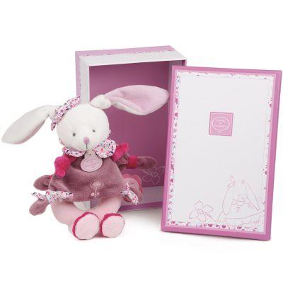 Coffret peluche hochet Cerise le lapin rose  par Doudou et Compagnie